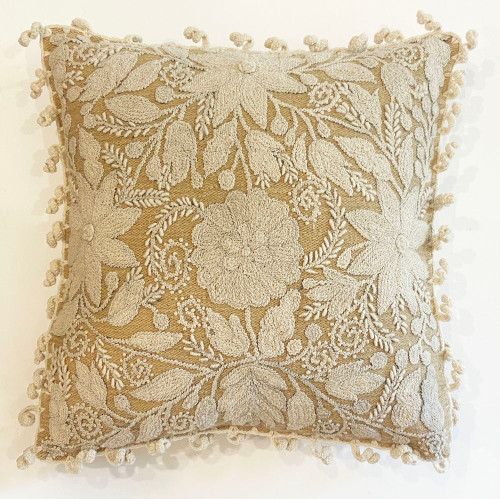 """Woolen Hand Woven and Embroidered Pillow Beige Peru  (18"""" x 18"""")"""