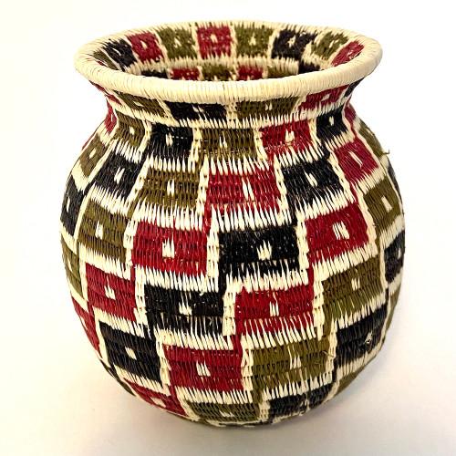 "Handmade Natural Fiber Wounaan Basket Small Panama  (3.5"" tall x  3""wide) natural white, brick red, olive green black"