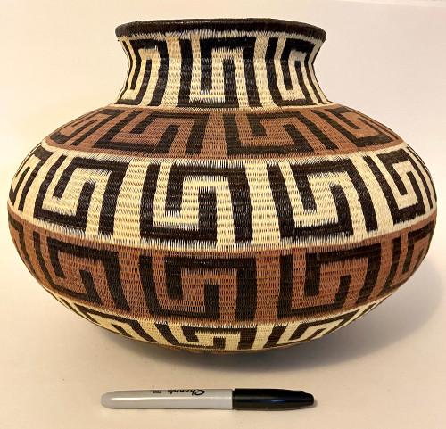 "Handmade Natural Fiber Wounaan Basket XLarge Panama  (710"" tall x  13.5""wide) light tan, cocoa and black"