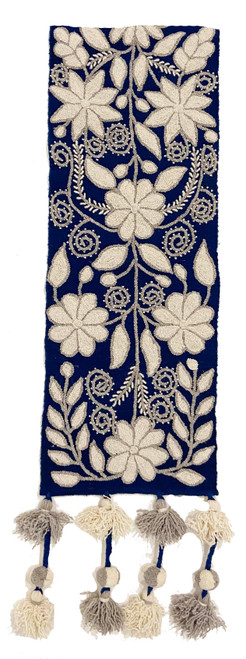 """Handwoven Hand Embroidered Wool Table Runner Blue Peru (11.5"""" x 62"""") Prussian blue, cream beige and light grey pompoms. Half view"""