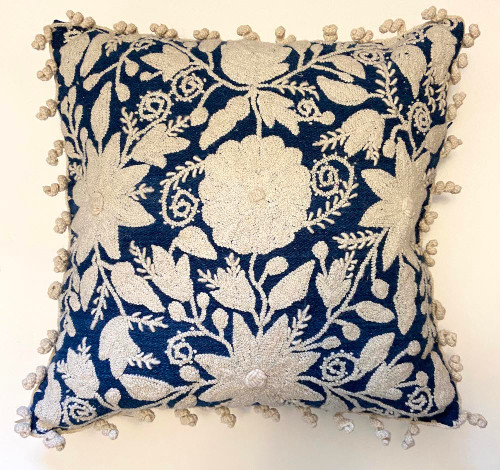 """Woolen Hand Woven and Embroidered Pillow Blue 2 Peru  (18"""" x 18"""") creamy white, Purssian Blue Crewel work"""