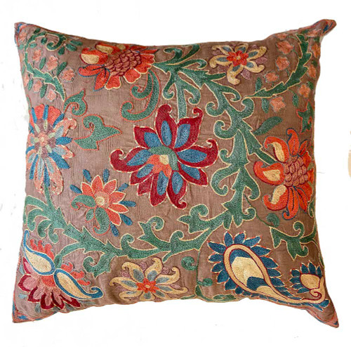 """Hand Embroidered Silk Pillow 15 Uzbekistan (18"""" x 19"""") taupe fabric embroidery colors: washed pine, Prussian blue, blue grey, wheat, papaya, burgundy, chalky cocoa, red clay, sage"""