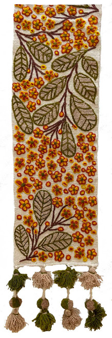 """Handwoven Hand Embroidered Wool Table Runner Peru (11."""" x 62"""") pale beige cloth with gold, papaya, olive green, pale camel, yellow and rich brown. Half view"""