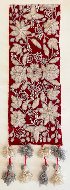 """Handwoven Hand Embroidered Wool Table Runner Peru (11.5"""" x 62"""") rich red with creamy white and light grey. Half view"""