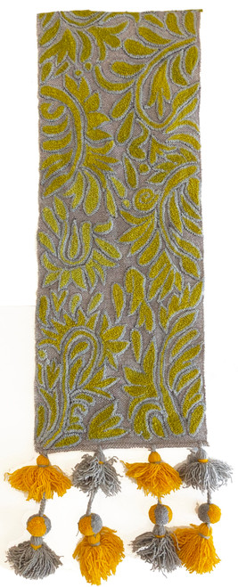 """Handwoven Hand Embroidered Wool Table Runner Peru (11.5"""" x 62"""") grey gradations of lime to chartreuse green and soft light blue half view"""