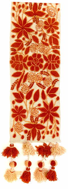 """Handwoven Hand Embroidered Wool Table Runner Peru (11"""" x 62"""") light tan with embroidery rococco and french knots burnt orange and pale peach"""