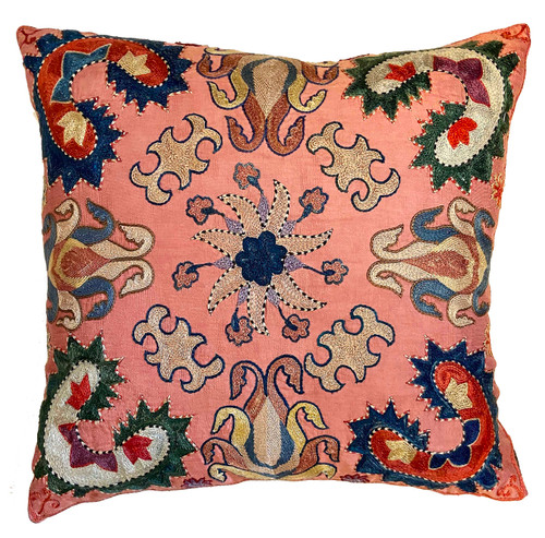 """Hand Embroidered Silk Pillow 18 Uzbekistan (17"""" x 18"""") peachy pink silk cloth with embroidery in  cream, Prussian blue, pinkish tan, faded dusty rose, forest green, orange, rust, bluish cream, and more"""