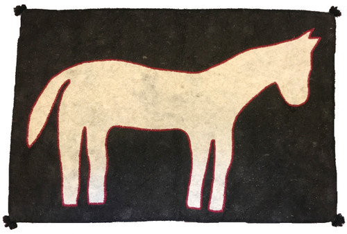 """Handmade Wool Felt Pony Rug Afghanistan (33"""" x 55"""") Natural wool appliqué technique charcoal and light grey"""