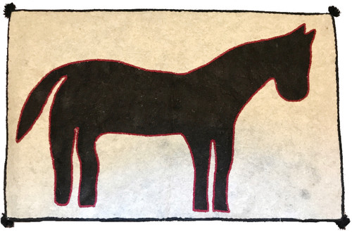 """Handmade Wool Felt Pony Rug 2 Afghanistan (33"""" x 55"""") Natural wool appliqué technique charcoal and light grey"""