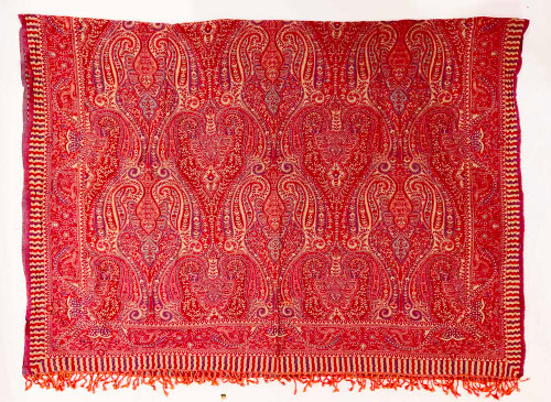 """Handwoven Boiled Wool Throw Red India (56"""" x 82"""")  rose red, muted violet, muted aqua, and wheat The reverse side, muted aqua, red, muted salmon pink, mute violet and wheat"""