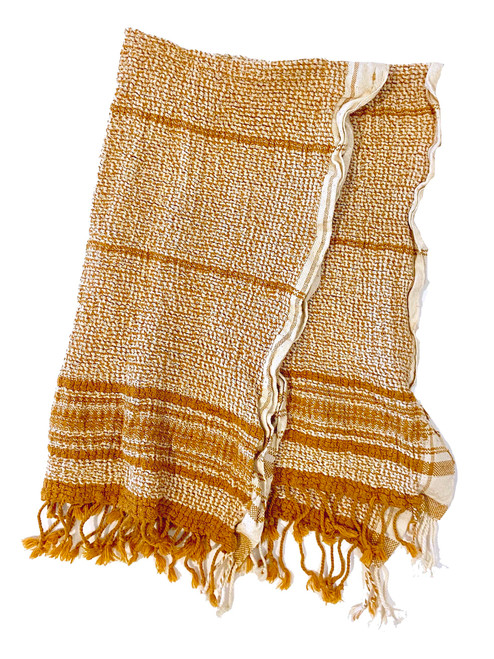 Handwoven Organic Cotton Hand Towel 18 x 27 India ochre and white