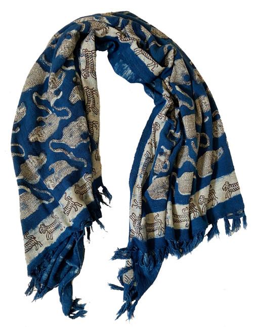 "Handwoven Block Printed Organic Cotton Blue Tiger Throw  India (52"" x 66"") medium indigo blue, off white, and charcoal"