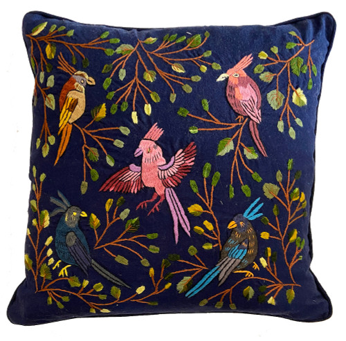 """Handwoven and Hand Embroidered Bird Pillow Indigo  Guatemala (17"""" x 16"""")Handwoven and Hand Embroidered Bird Pillow on White  Guatemala (18"""" x 18"""") indigo, greens, pink, gray, teal blue, grey, lavender, turquoise, gold yellow, brown, black"""