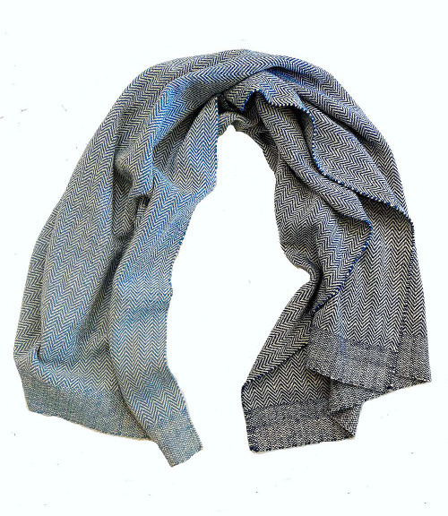 """Handwoven Wool Throw Gradations of Blue Mexico (44"""" x 74"""")"""