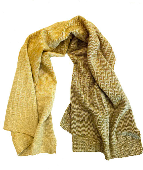 """Handwoven Wool Throw Gradations of Golden Mexico (44"""" x 74"""") white and a gradations of heathered gold to olive gold. Zapotec artisans in Oaxaca"""