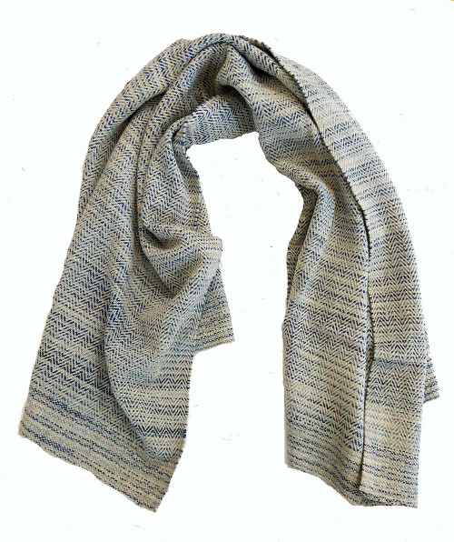 """Handwoven Wool Throw  Mexico (43"""" x 72"""") white and blend of tones of very light blue to royal blue Zapotec artisans in Oaxaca"""