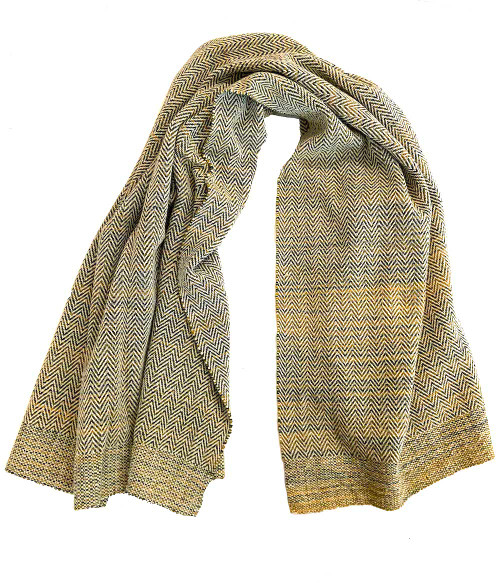 """Handwoven Wool Throw Greens  Mexico (43"""" x 72"""")white and blend of tones from gold to greens Zapotec artisans Oaxaca"""