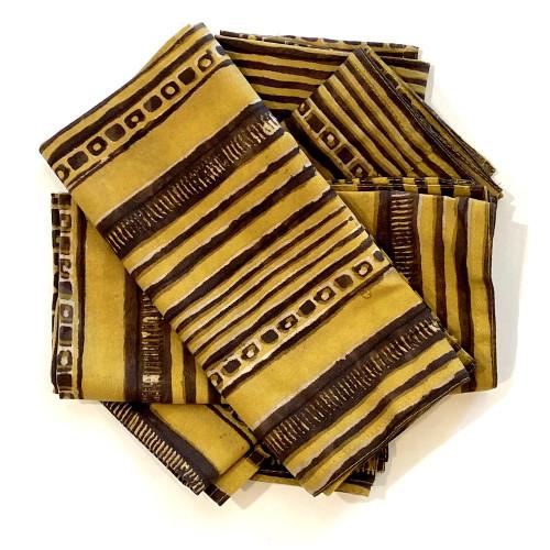 "Hand Block Printed Natural Dyed Napkins Stripe Mustard India Set of 4 (18""x 18"") mustard tan brownish charcoal"