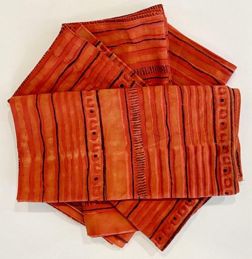 "Hand Block Printed Natural Dyed Napkins Stripe Orange India Set of 4 (18""x 18"") shades of orange to orange red and charcoal."