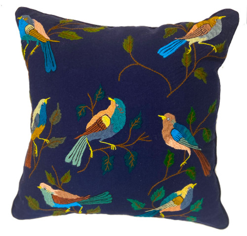 """Handwoven and Hand Embroidered Bird Pillow on Indigo Blue Guatemala (18"""" x 18"""") 18"""") greens,  teal, blue grey, cocoa, pinkish tan, browns and more"""