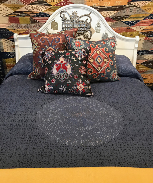 """Handmade Stitched Cotton Quilt Queen Bedspread India (91"""" x 94"""") Grayed-navy colored cotton with a hand stitched pattern in black, cream and dusty pink threads"""