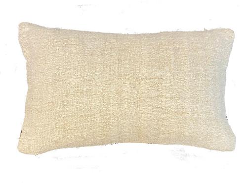 "Handwoven Hemp Rectangular Pillow Turkey (11"" x 19"") cream colored textured"