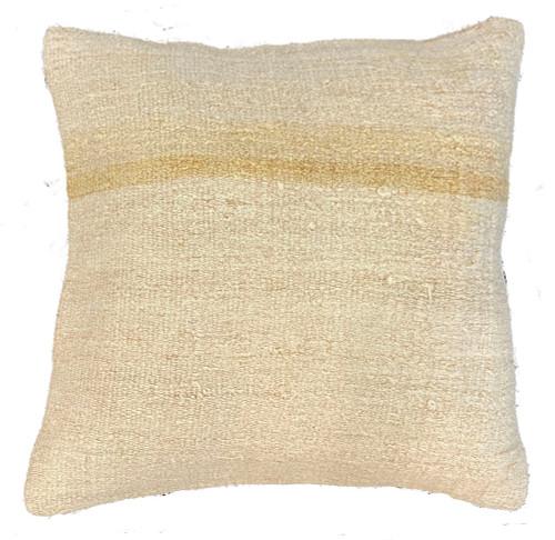 "Handwoven Hemp Square Pillow Turkey (19"" x 19"") cream variations texture"