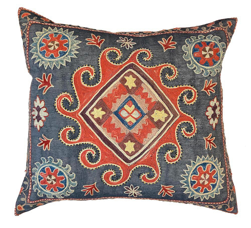 """Hand Embroidered Silk Pillow Blue Grey Uzbekistan (18"""" x 19"""") blue grey colored  fabric embroidery colors:  rusty red,  faded dusty rose, red brown, blue grey, cream, Prussian blue"""
