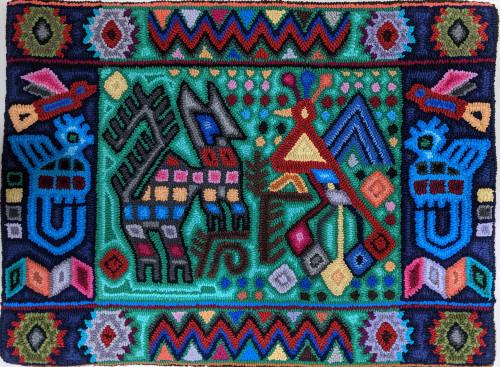 "Handmade Hooked Medium Rug Recycled Clothing by Juana Guatemala (24"" x 32"") figures from Maya and geometrics"