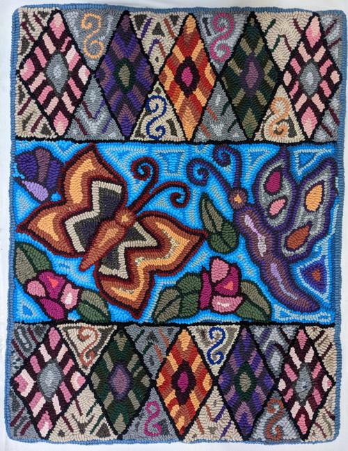 "Handmade Hooked Medium Rug Recycled Clothing by Irma Guatemala (24"" x 32"") Butterfly geometric"