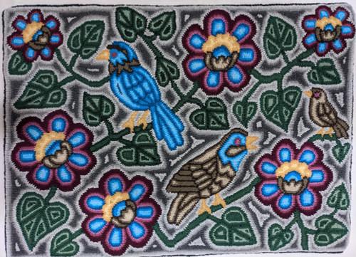 "Handmade Hooked Medium Rug Recycled Clothing by Lidia Guatemala (24"" x 32"") Bird flower leaf"