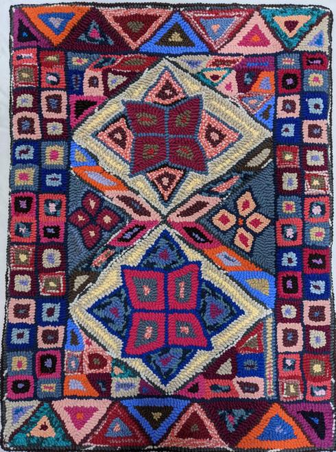 "Handmade Hooked Medium Rug Recycled Clothing by Virginia Guatemala (24"" x 32"")  geometric"