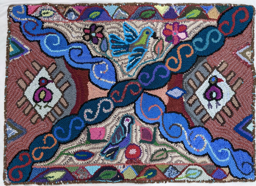 "Handmade Hooked Medium Rug Recycled Clothing by Carmen Guatemala (24"" x 32"")"