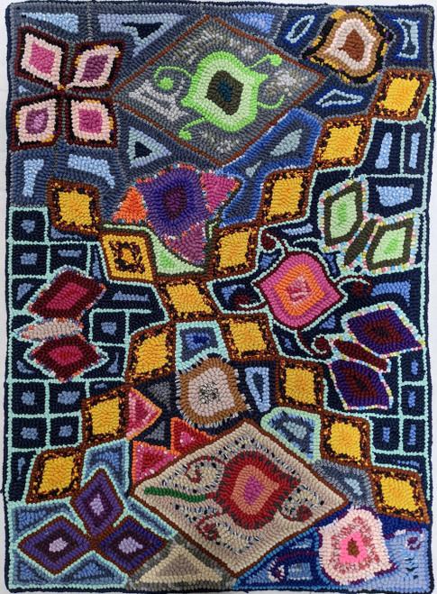 "Handmade Hooked Medium Rug Recycled Clothing by Silvia Guatemala (24"" x 32"")"