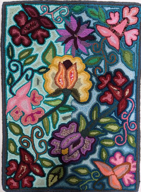 "Handmade Hooked Medium Rug Recycled Clothing by Bartola Guatemala (24"" x 32"") Floral"