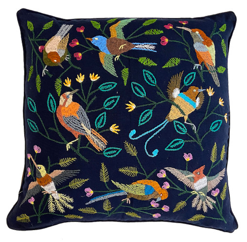 """Handwoven and Hand Embroidered Bird Pillow on Indigo Blue Guatemala (20"""" x 20"""") by Maria greens, oranges, rust, light blue, wheat, turquoise, tan, rose, olive, brown, pale yellow, grey white and more"""