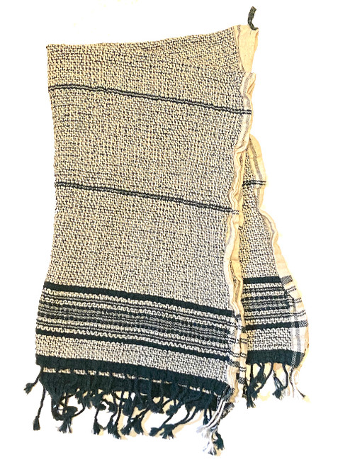 Handwoven Organic Cotton Hand Towel 20 x 28 India forest green and white