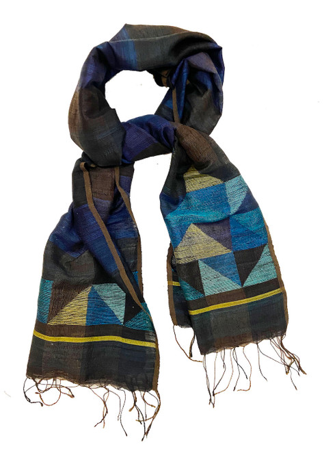 Handwoven Silk Jamdani Blues Scarf India  Colors: deep blues, browns and purples make up the field. The triangle patterns are teal blue, black, yellow green, turquoise, indigo, and sea foam.