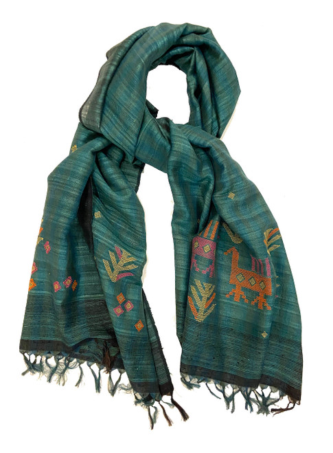 Handwoven Silk Jamdani Green Teal Scarf India  Colors: variations of teal green make up the field. The  patterns are raspberry pink, orange and golden wheat. There is a black and brown edge.