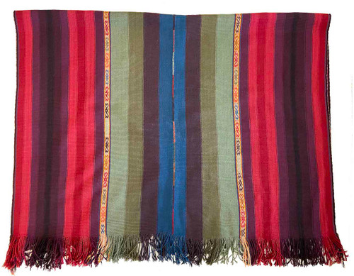 """Handwoven Natural Dyed Alpaca Merino Wool and Alpaca Throw A Peru (48"""" x 70"""") medley of sumptuous natural dyed yarns including eggplant, burgundy, sage, olive and indigo blue"""