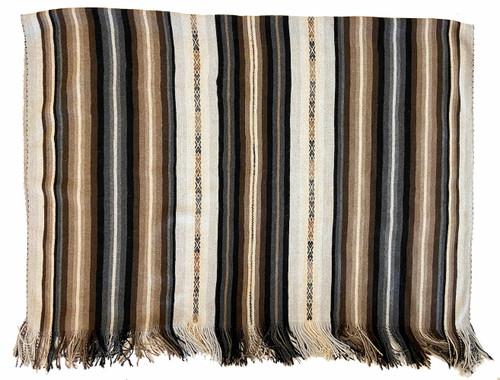 "Handwoven Natural Dyed Alpaca Merino Wool and Alpaca Throw C Peru (48"" x 72"")  natural colors right off the sheep and alpaca and natural dyes light grey, light brown, tan dark grey and black"
