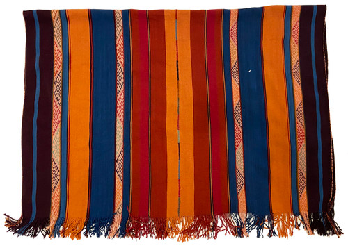 """Handwoven Natural Dyed Alpaca Merino Wool and Alpaca Throw D Peru (47"""" x 66"""") medley of sumptuous natural dyed yarns including indigo blue, pumpkin, rust, dark red and eggplant."""