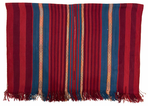 """Handwoven Natural Dyed Alpaca Merino Wool and Alpaca Throw E Peru (48"""" x 65"""") medley of sumptuous natural dyed yarns including red, burgundy, indigo blue and natural."""