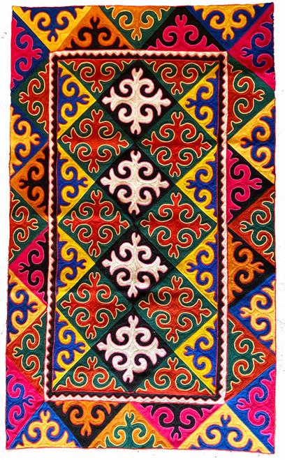 Handmade Felt Wool Shyrdak Rug 2 Kyrgyzstan colors royal blue, gold, fuchsia, forest green, white, red, rust, yellow. Braided trim in fuchsia, red and gold.