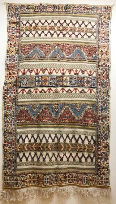 """Handwoven Glaoui Tapestry Wool Rug  Morocco (4' 6"""" x 8' 1"""") flat tapestry weave, knotted pile and twill weaving.    Colors:natural cream, chalky light indigo blue, chalky rust, muted gold, greyed sand, chalky plum-brown."""
