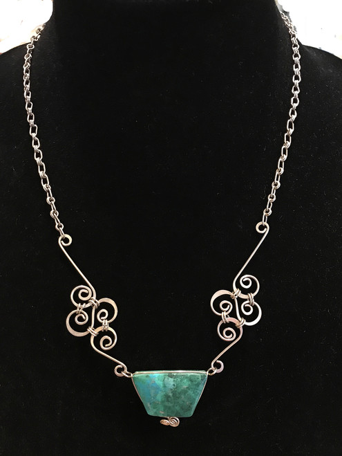 """Handmade Silver Wire Necklace with Stones Guatemala (10"""" drop)"""