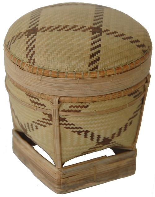 "Handmade Traditional Tingkep Basket 3 Phillippines (5"" x 5"")"