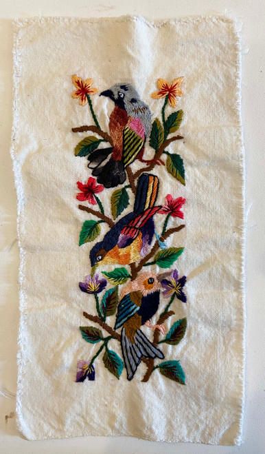 """Hand Embroidery on Cotton by the Foot Guatemala (4"""" x 11"""")"""