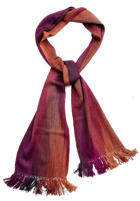 Handwoven Bamboo Scarf Guatemala  dark red brown, magenta, copper, rust brown, light rust and more