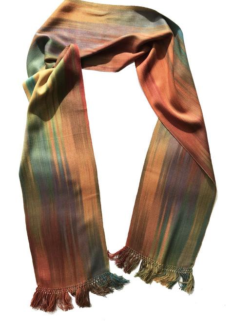 "Handwoven Bamboo Fall Rainbow Scarf Guatemala (8"" x 68"")"